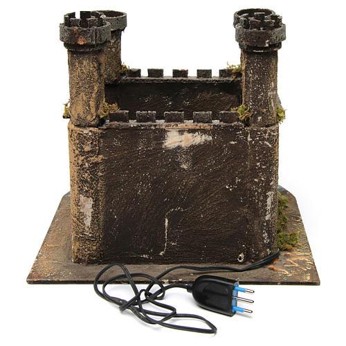 Castello 4 torri con luce per presepe napoletano 25x30x30 cm 4