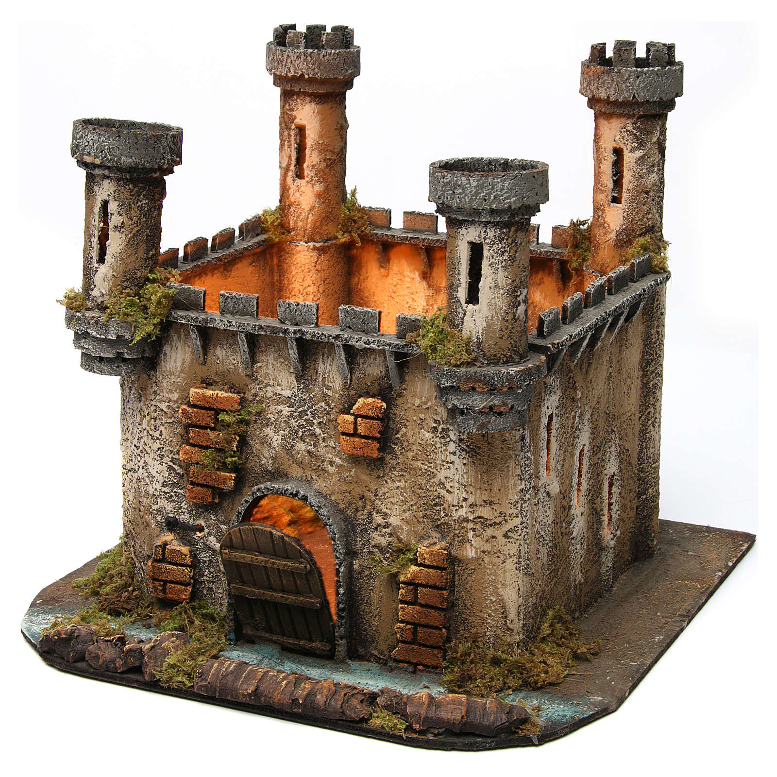 Illuminated castle with 4 towers for Neapolitan Nativity Scene 27x30x30 4
