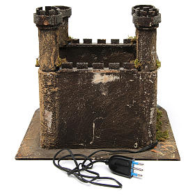 Illuminated castle with 4 towers for Neapolitan Nativity Scene 27x30x30 s4