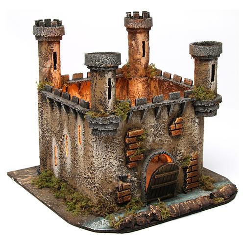 Illuminated castle with 4 towers for Neapolitan Nativity Scene 27x30x30 3