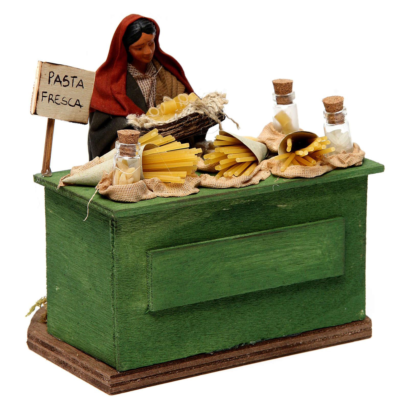 Venditrice di pasta con banco presepe di Napoli 12 cm 4