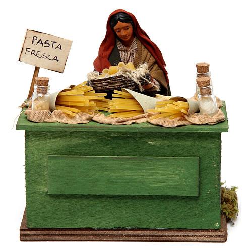 Venditrice di pasta con banco presepe di Napoli 12 cm 1
