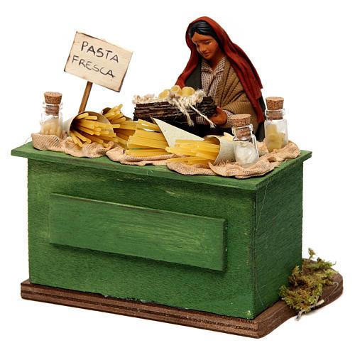 Venditrice di pasta con banco presepe di Napoli 12 cm 2