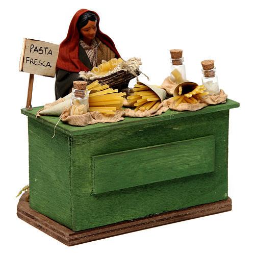 Venditrice di pasta con banco presepe di Napoli 12 cm 3