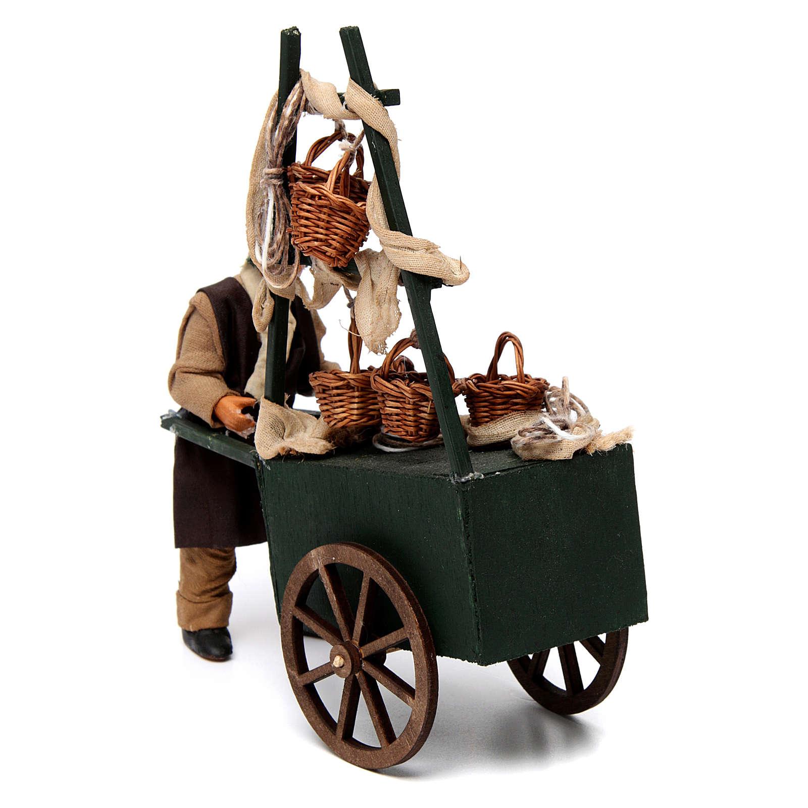 Vendeur de paniers avec charrette pour crèche napolitaine 12 cm 4