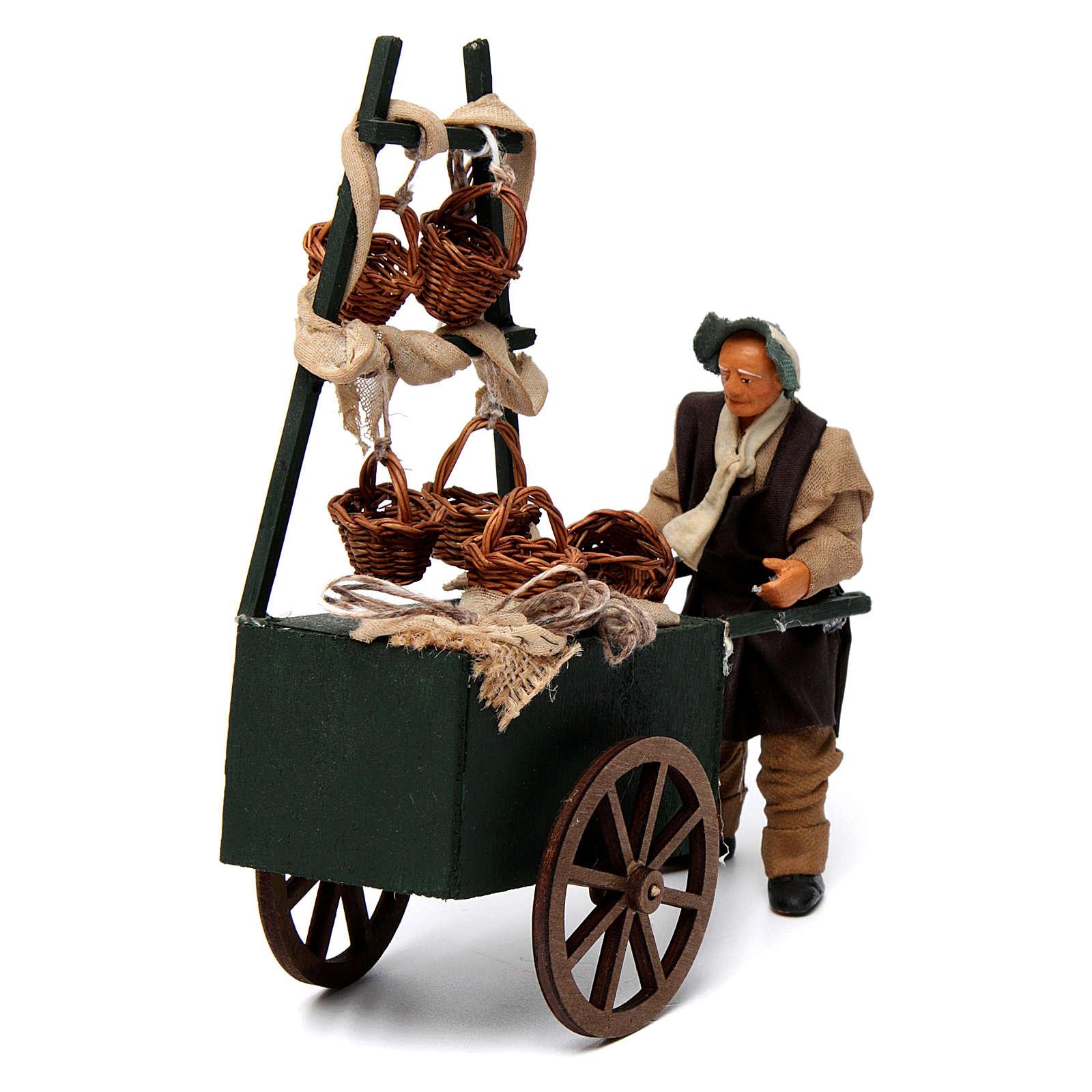 Venditore di cesti con carretto per presepe napoletano 12 cm 4
