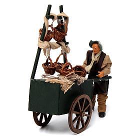 Venditore di cesti con carretto per presepe napoletano 12 cm s2
