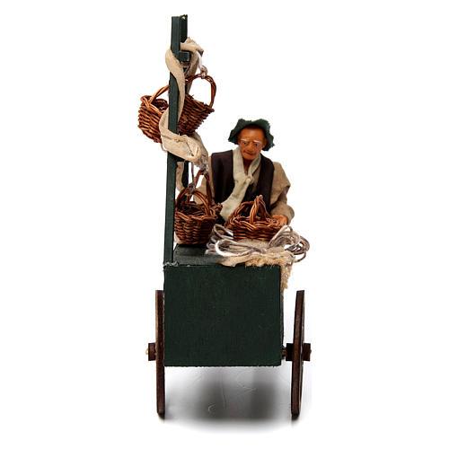 Venditore di cesti con carretto per presepe napoletano 12 cm 1
