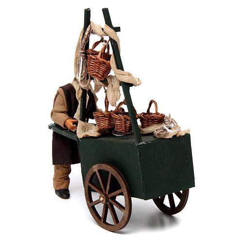 Venditore di cesti con carretto per presepe napoletano 12 cm 3