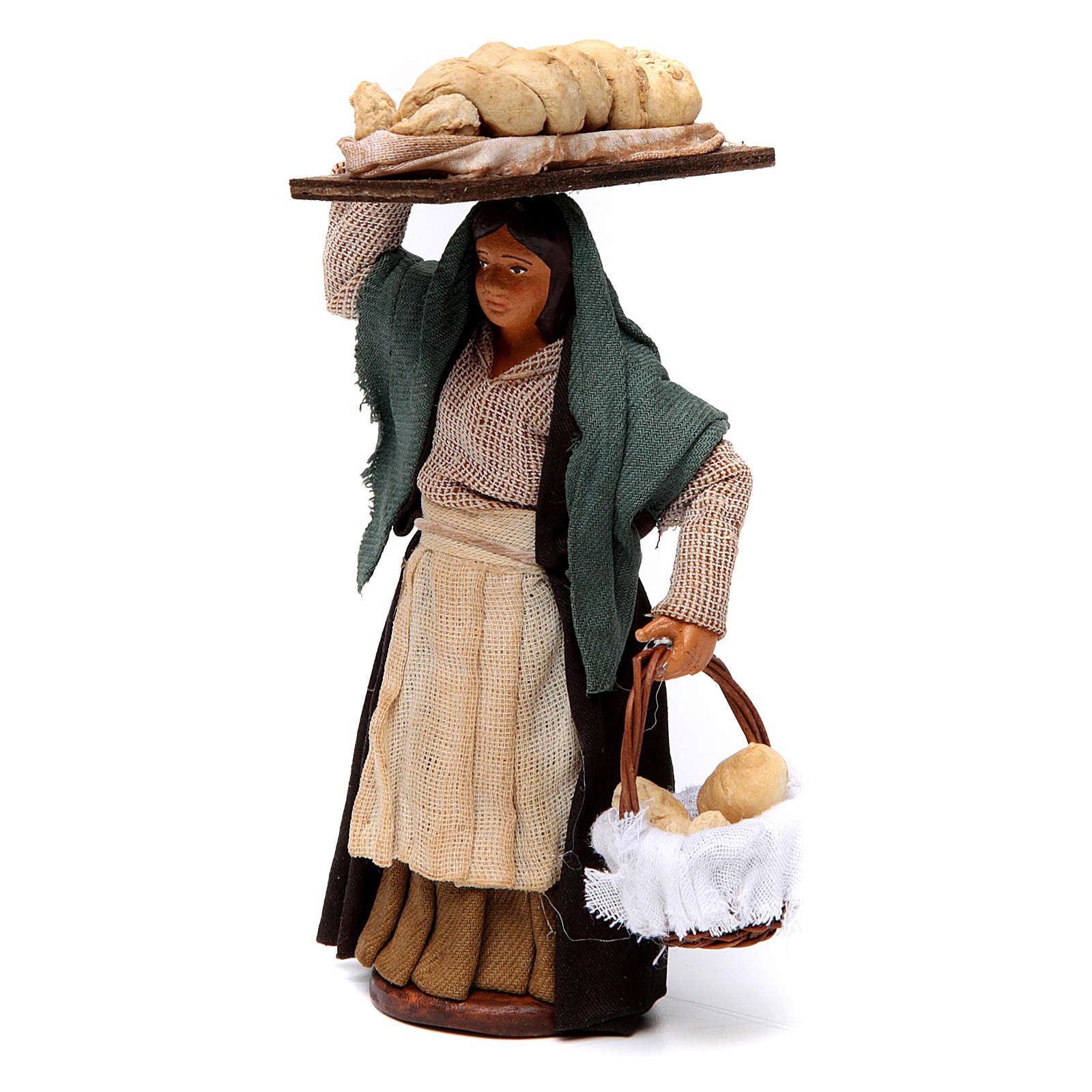Femme qui porte le pain pour crèche napolitaine 12 cm 4