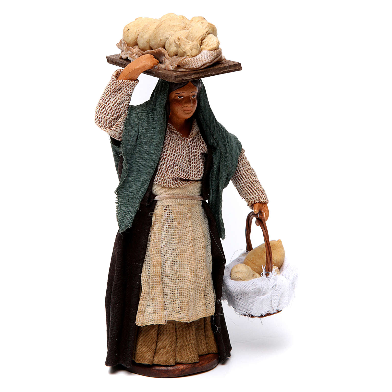 Donna che porta il pane presepe di Napoli 12 cm 4