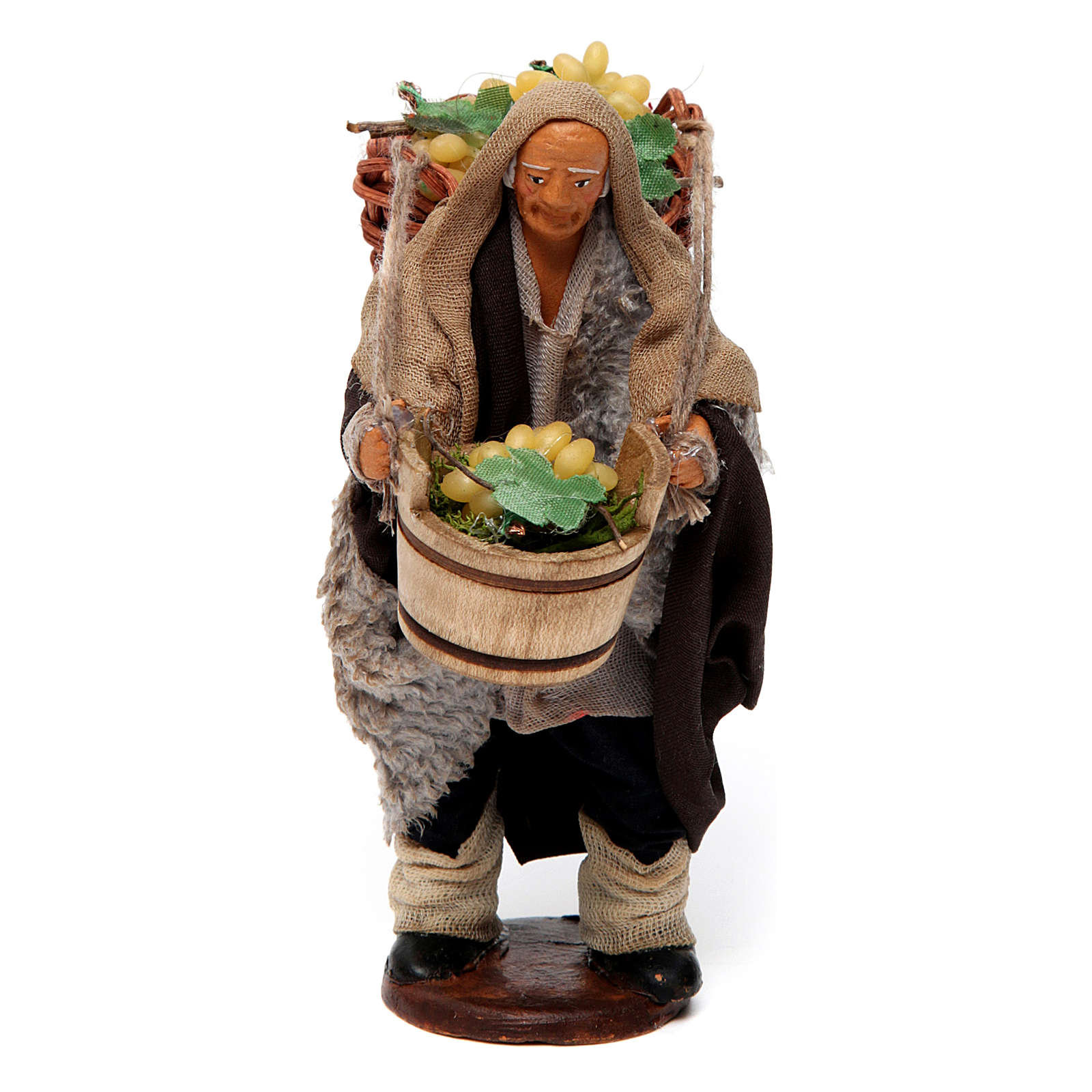Uomo con cesti di uva per presepe napoletano di 12 cm 4