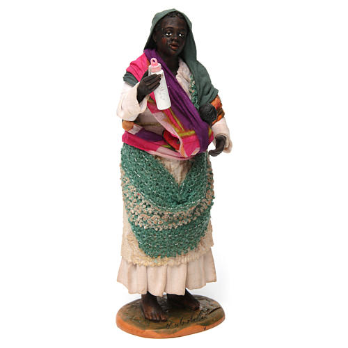 Gypsy with Child in arms for Neapolitan nativity of 30 cm 3