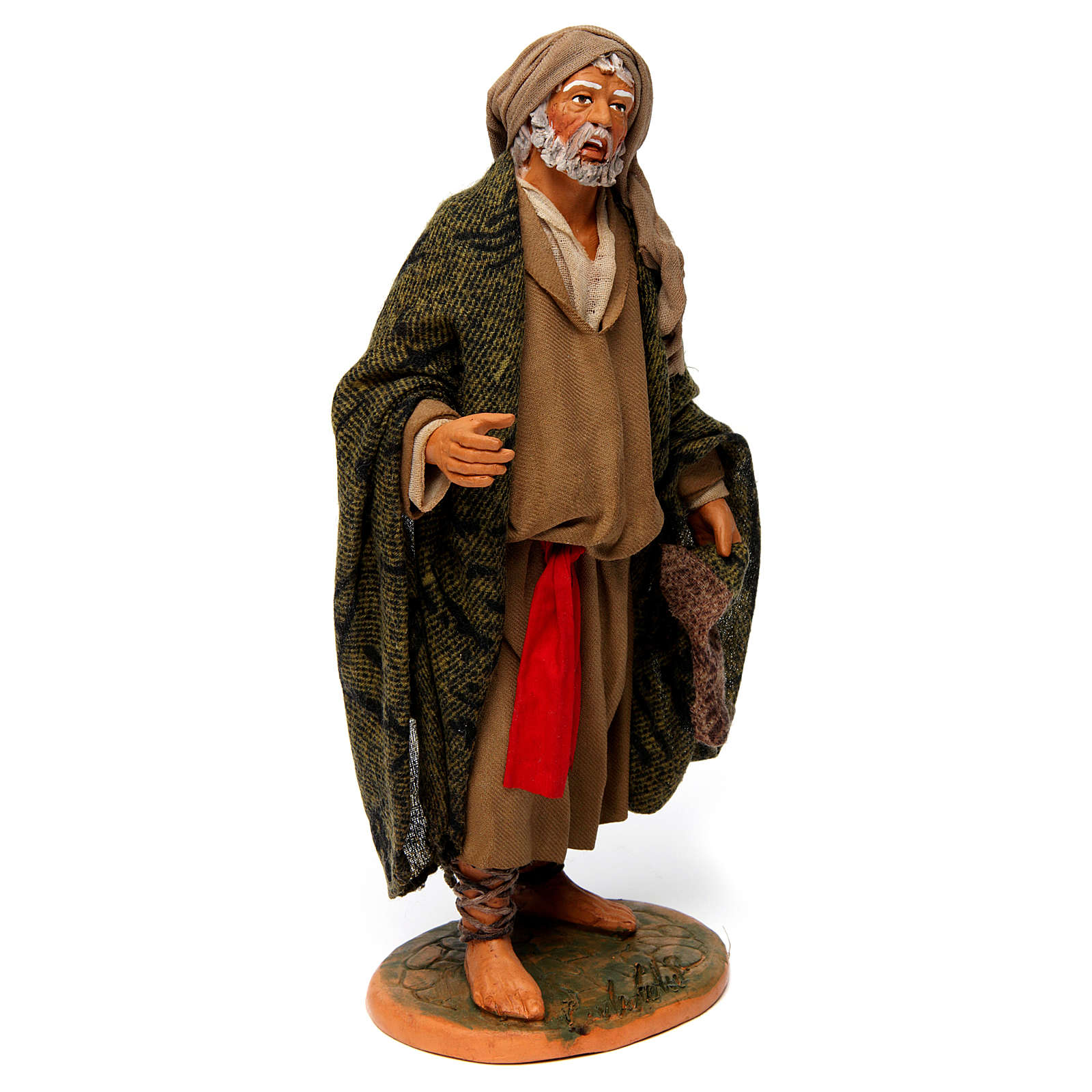 Hombre anciano con capa para belén napolitano 30 cm de altura media 4