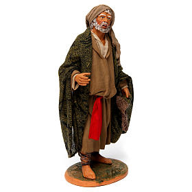 Uomo anziano con mantello per presepe napoletano 30 cm s3
