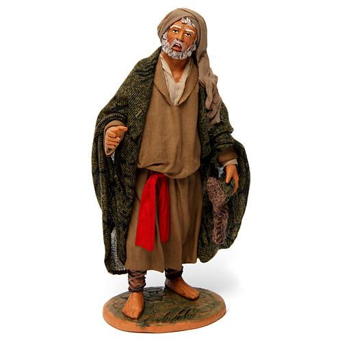 Uomo anziano con mantello per presepe napoletano 30 cm 1