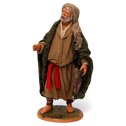 Uomo anziano con mantello per presepe napoletano 30 cm 2