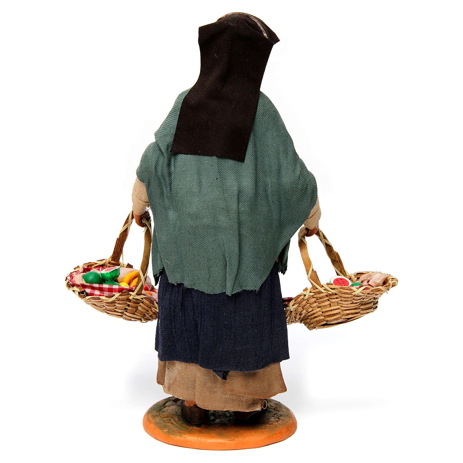 Donna con cesti di frutta per presepe napoletano 30 cm 4
