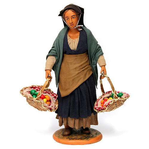 Woman with Fruit Baskets for Neapolitan nativity 30 cm 1