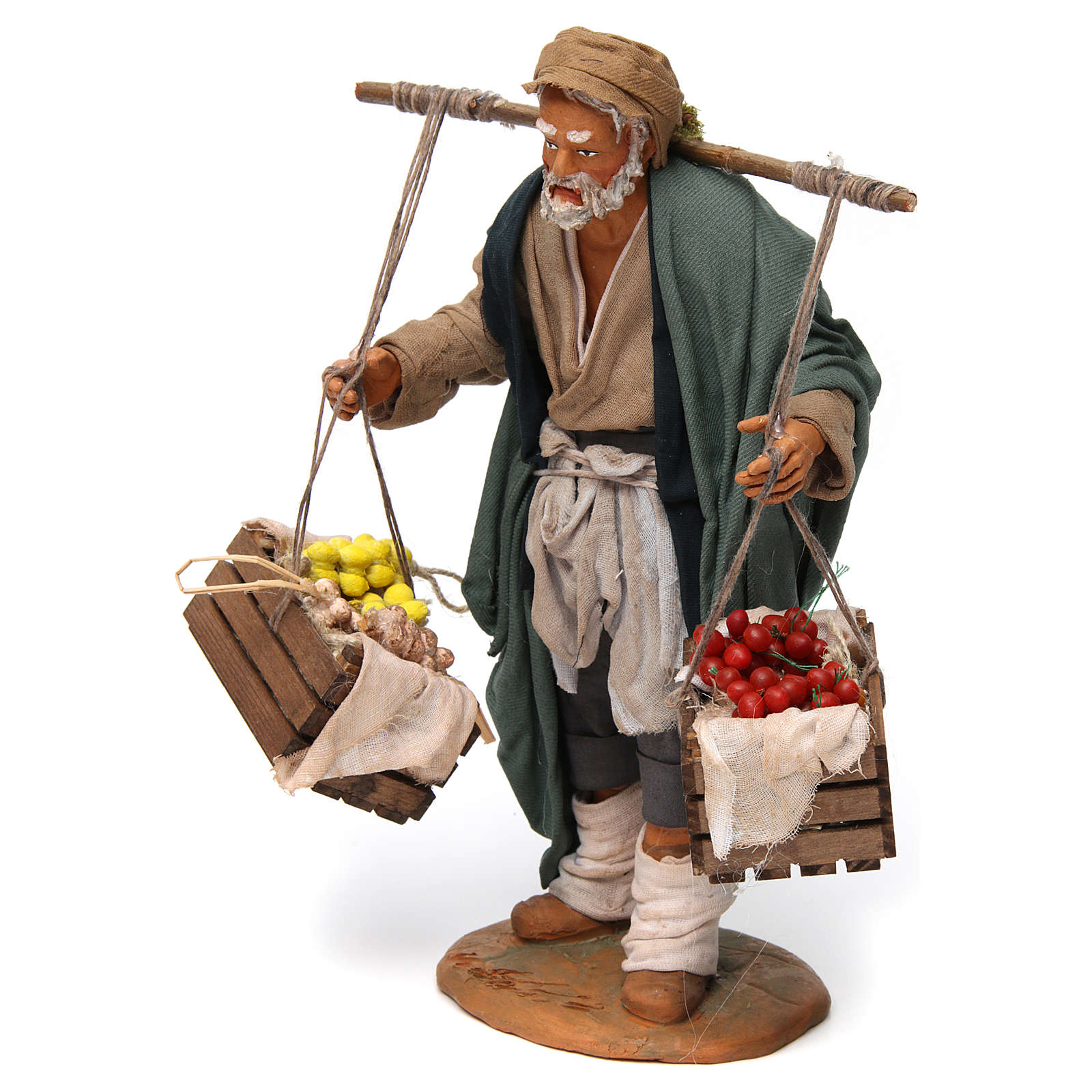 Man with Two Baskets of Fruits and Vegetables for Neapolitan nativity 30 cm 4
