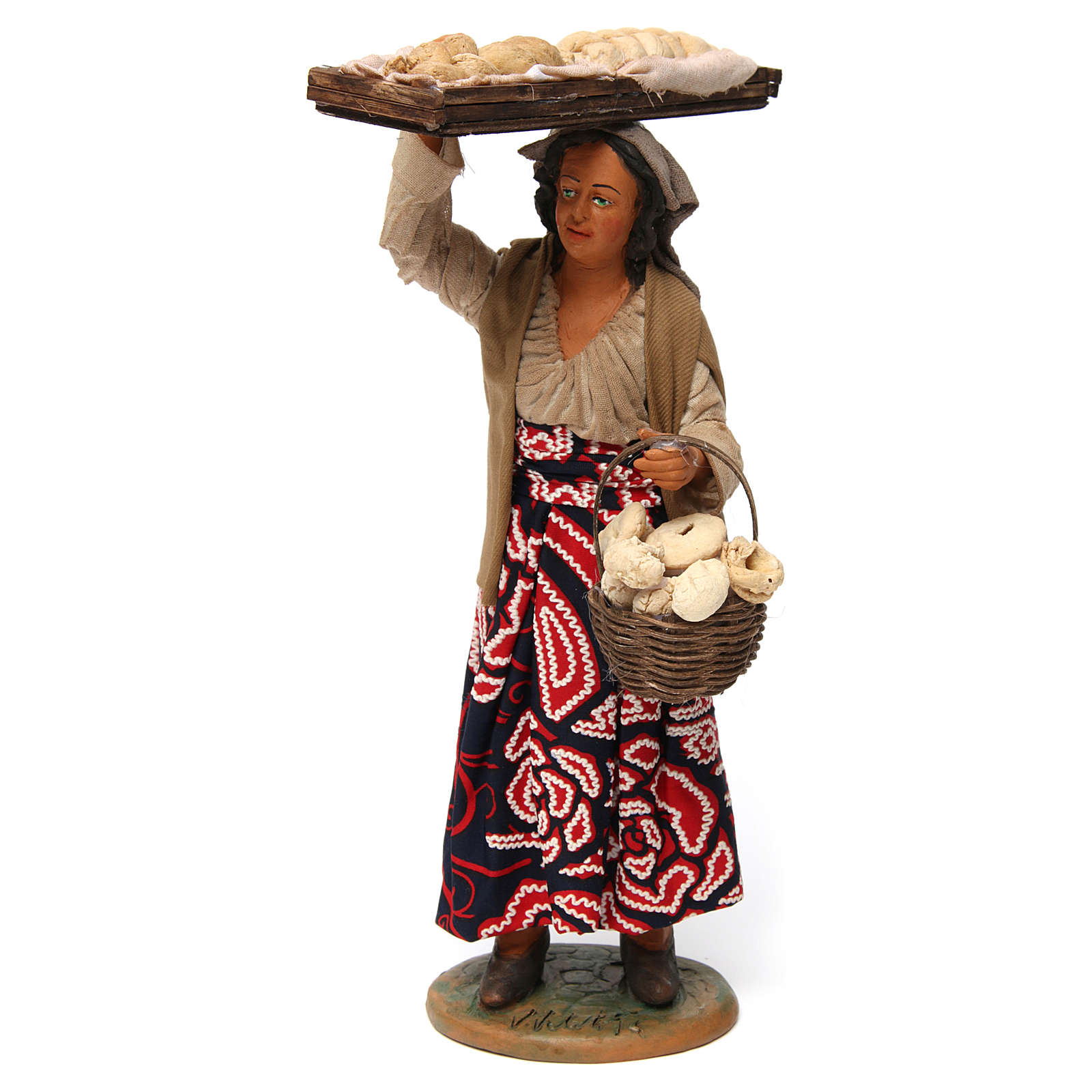 Femme avec panier de pain pour crèche napolitaine de 30 cm 4