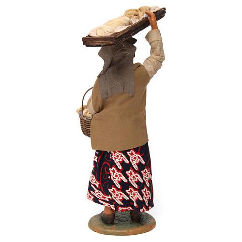 Femme avec panier de pain pour crèche napolitaine de 30 cm 3