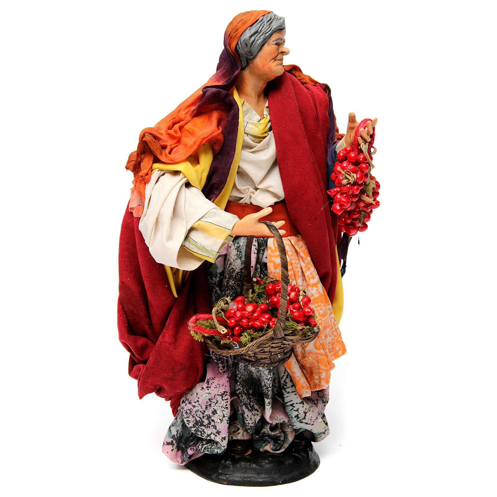 Donna con pomodori per presepe napoletano 30 cm 4