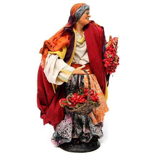 Donna con pomodori per presepe napoletano 30 cm 3