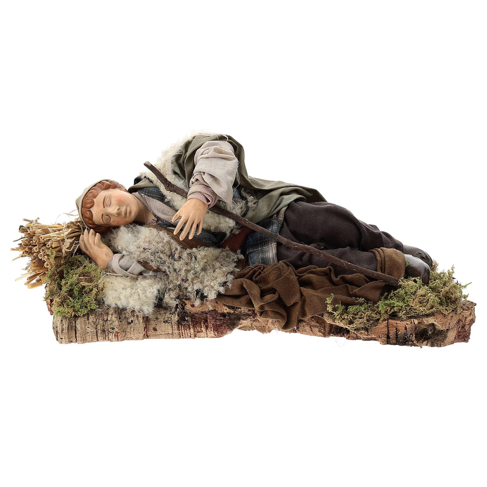 Sleeping shepherd for Neapolitan Nativity Scene 30 cm 4