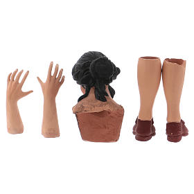 Testa occhi di vetro mani piedi Donna Mora 35 cm s5