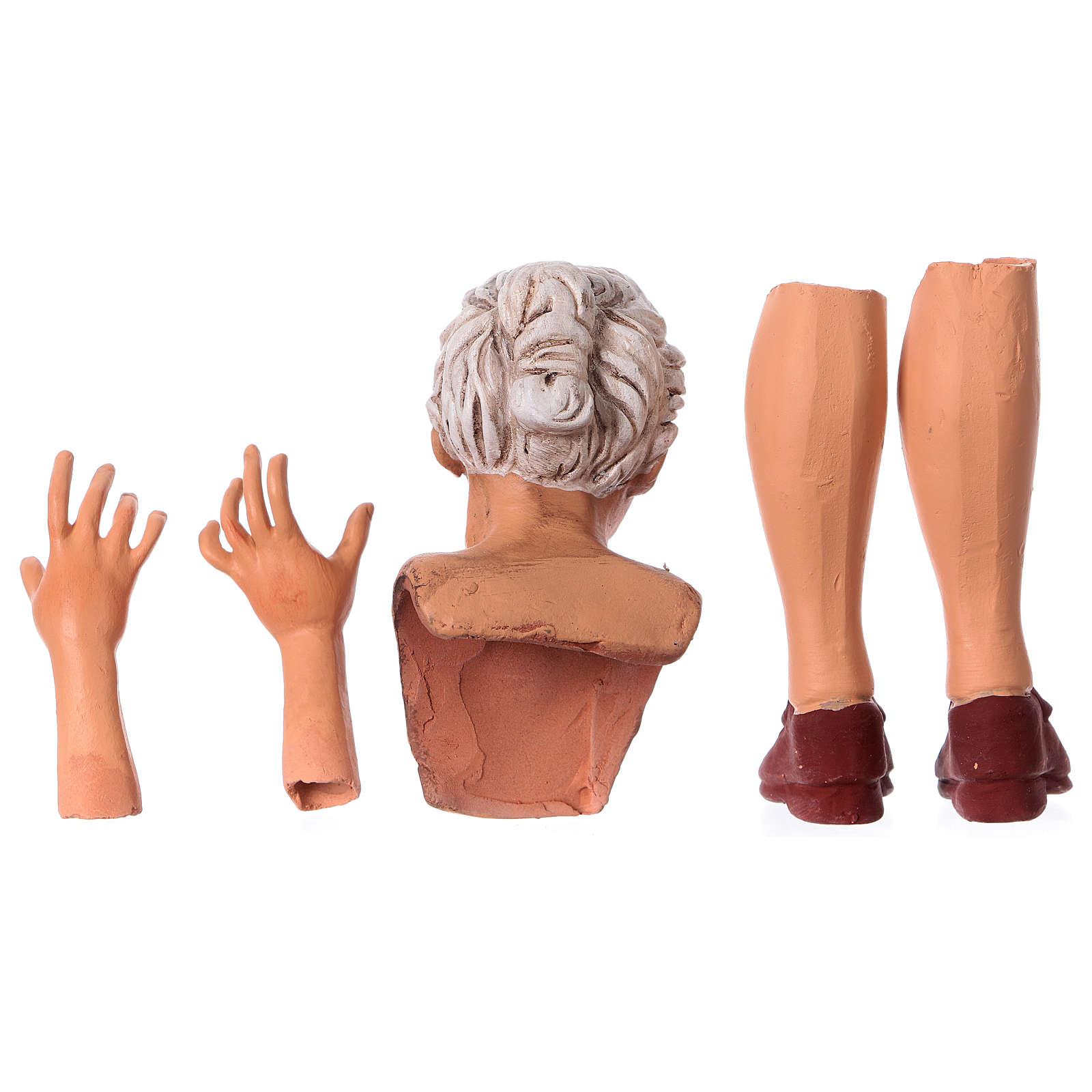 Testa mani e piedi per statua donna presepe 35 cm 4