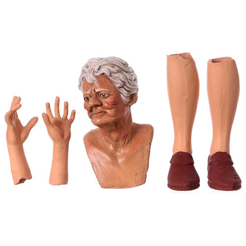 Testa mani e piedi per statua donna presepe 35 cm 1