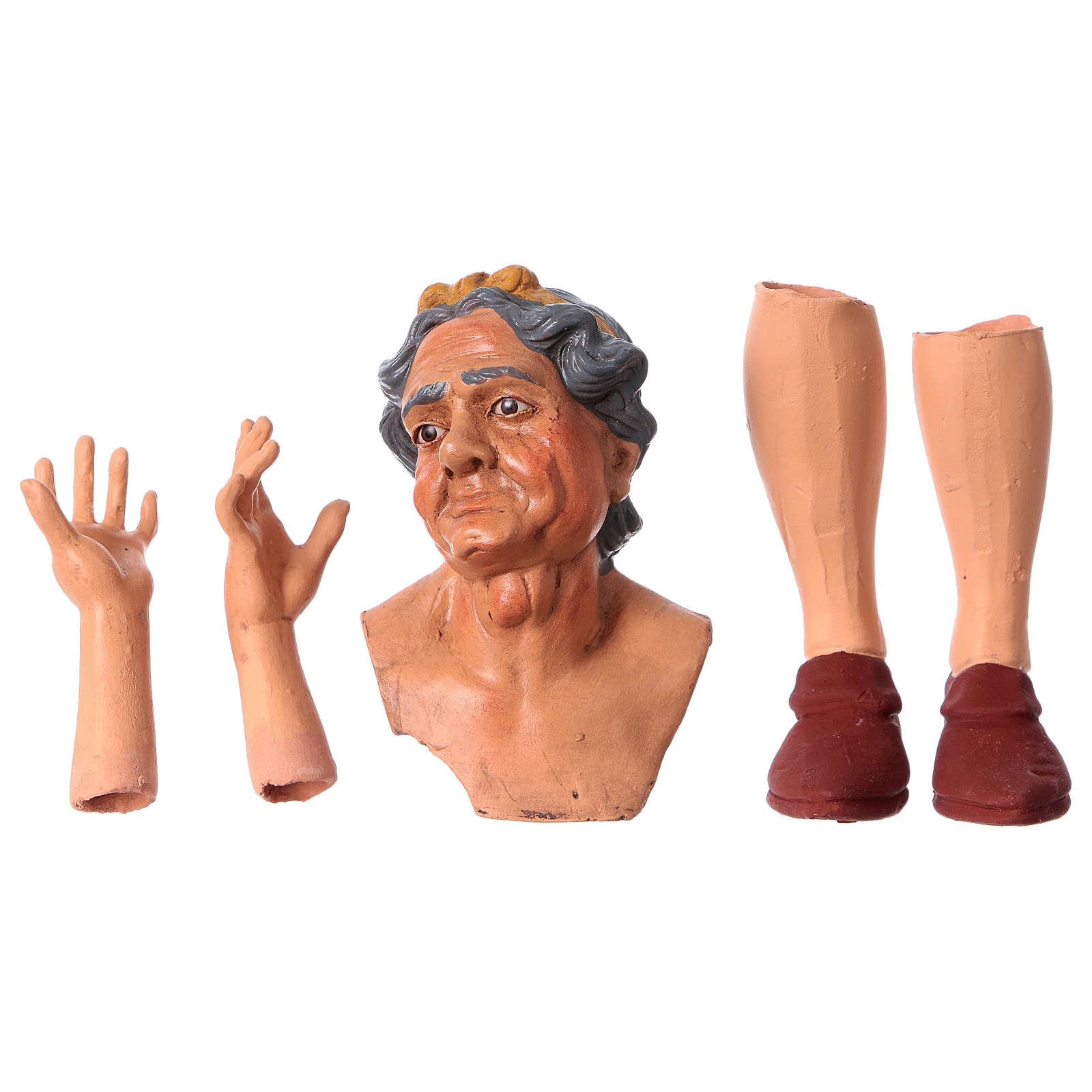 Testa mani piedi Donna Anziana 35 cm occhi in vetro 4