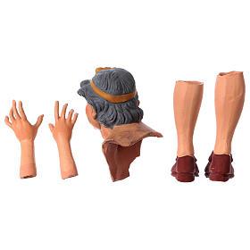 Testa mani piedi Donna Anziana 35 cm occhi in vetro s6