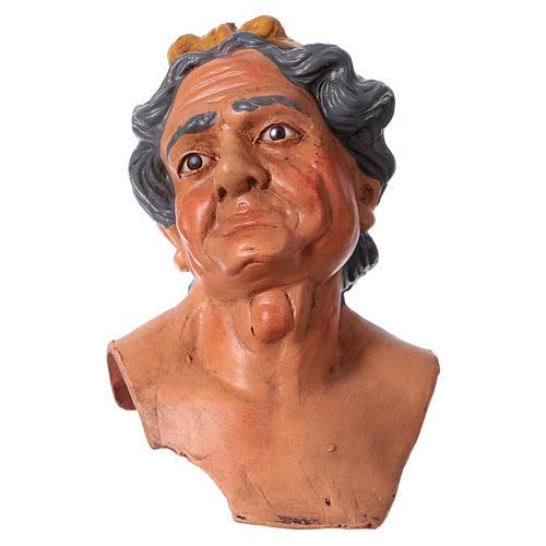 Testa mani piedi Donna Anziana 35 cm occhi in vetro 3