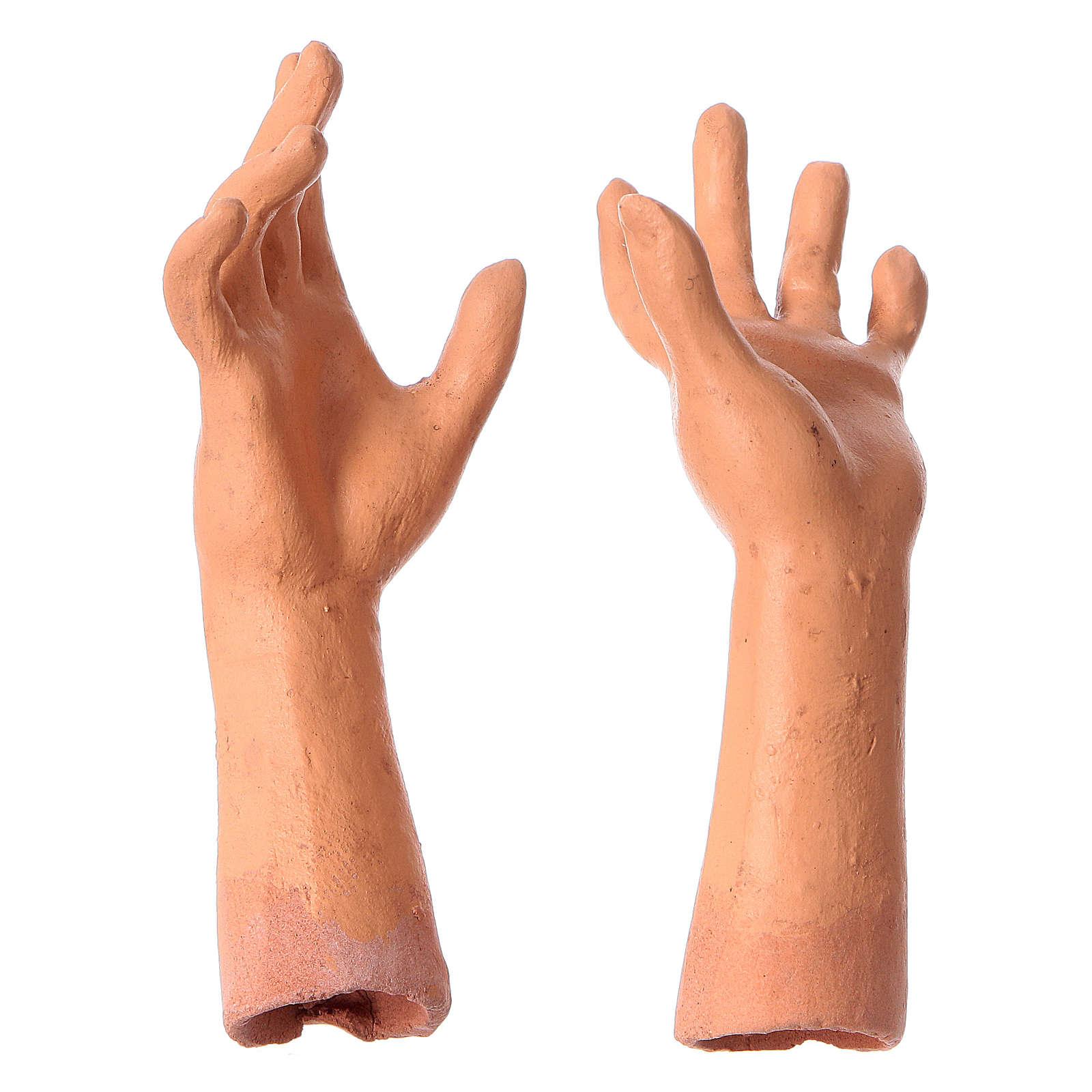 Mani testa piedi terracotta 35 cm Donna capelli bianchi  4