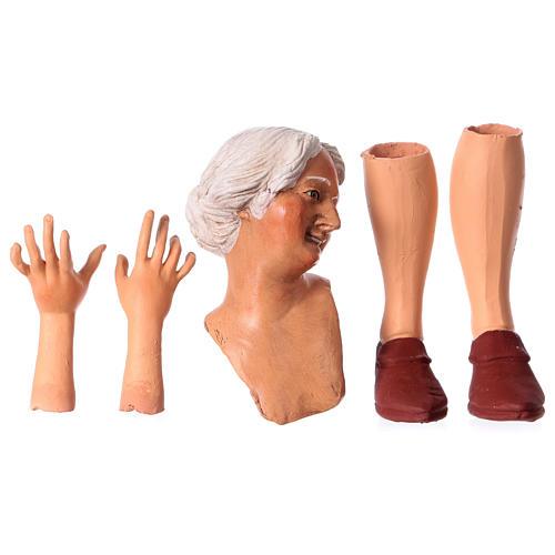 Mani testa piedi terracotta 35 cm Donna capelli bianchi  1