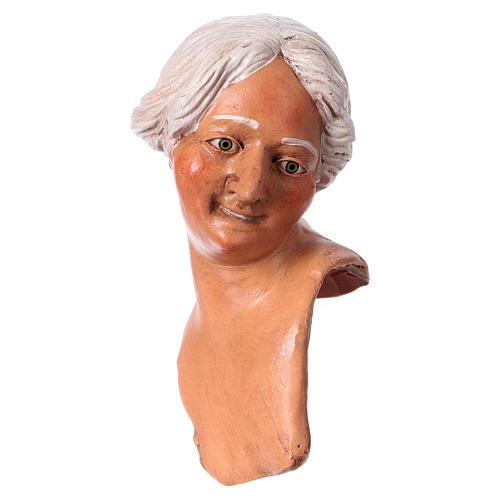 Mani testa piedi terracotta 35 cm Donna capelli bianchi  2