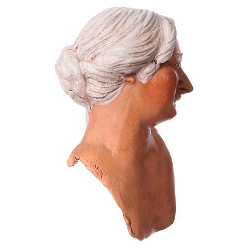 Mani testa piedi terracotta 35 cm Donna capelli bianchi  3