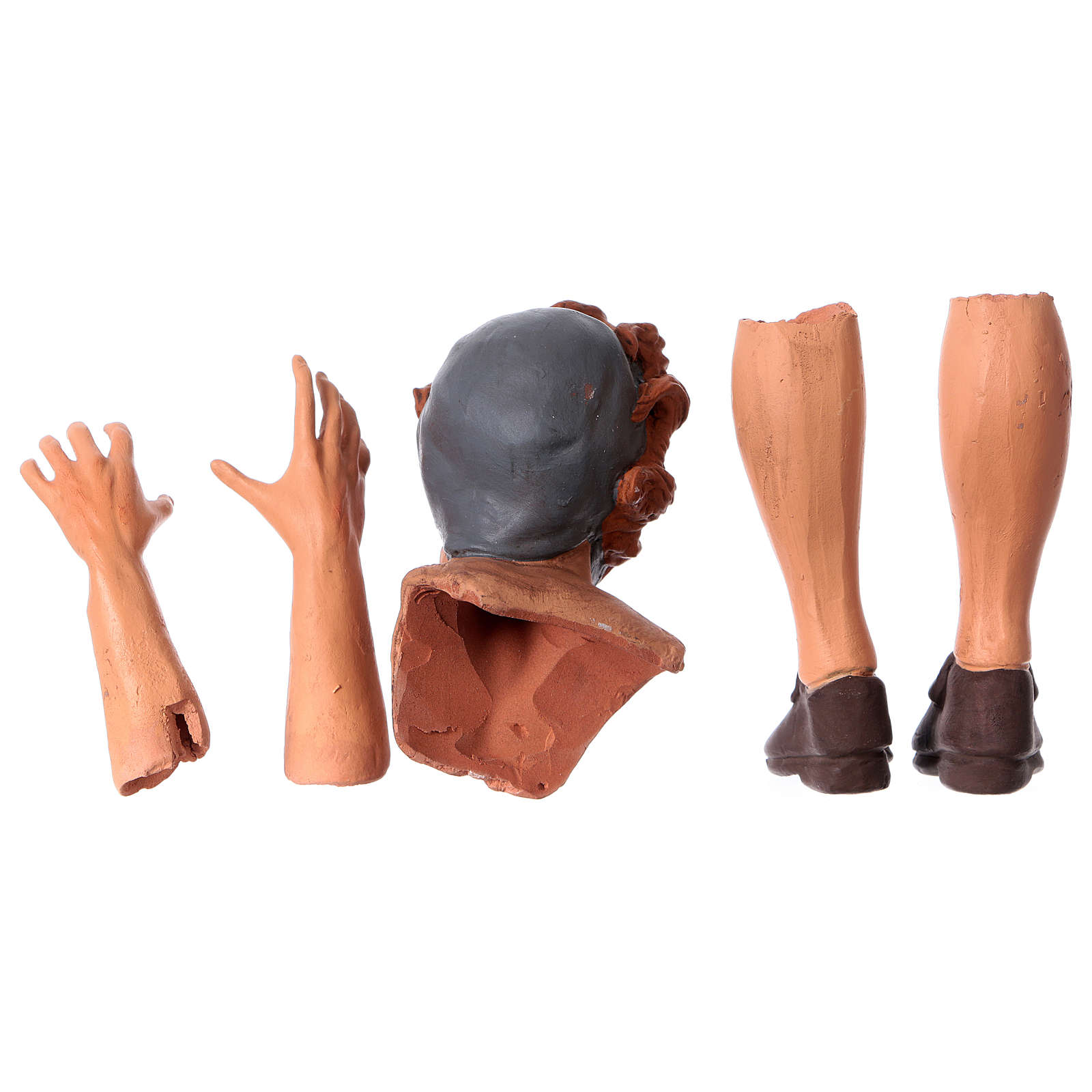 Mani testa piedi terracotta 35 cm Pastore giovane 4