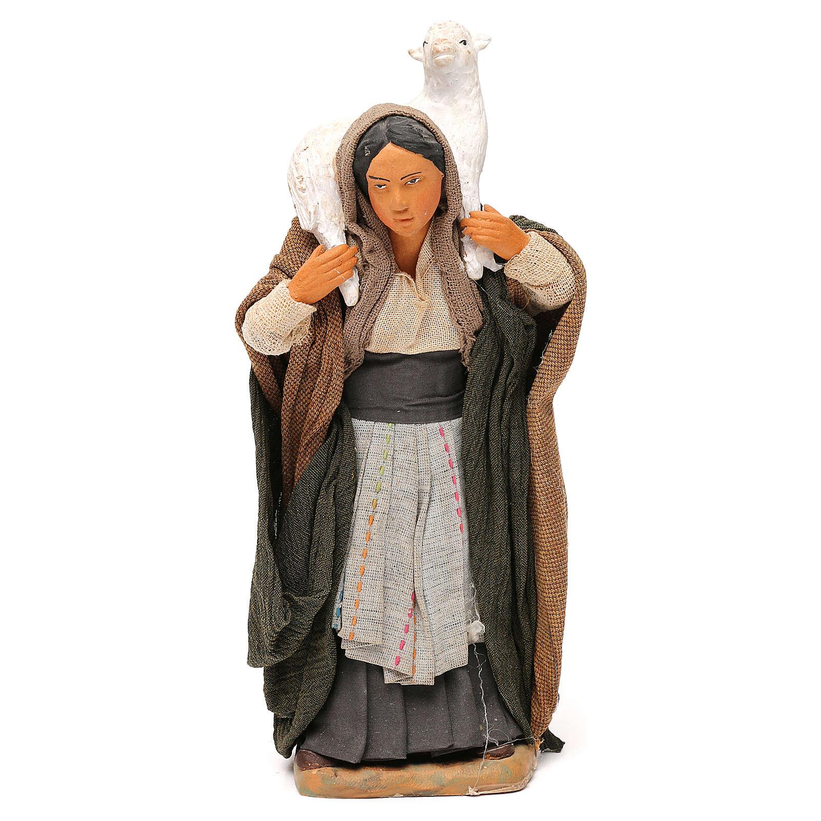 STOCK Donna vestita con pecora terracotta 18 cm Presepe Napoletano 4