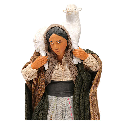 STOCK Donna vestita con pecora terracotta 18 cm Presepe Napoletano 2