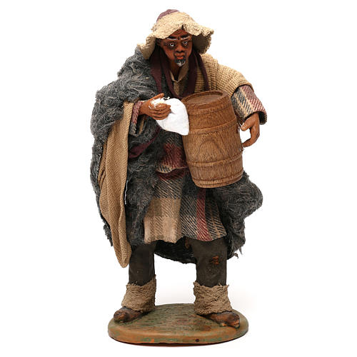STOCK Pastor con barril vestido terracota de 18 cm Belén Napolitano 1