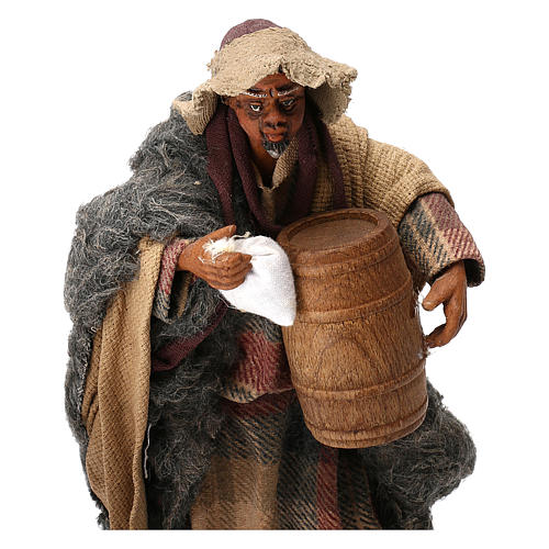 STOCK Pastor con barril vestido terracota de 18 cm Belén Napolitano 2