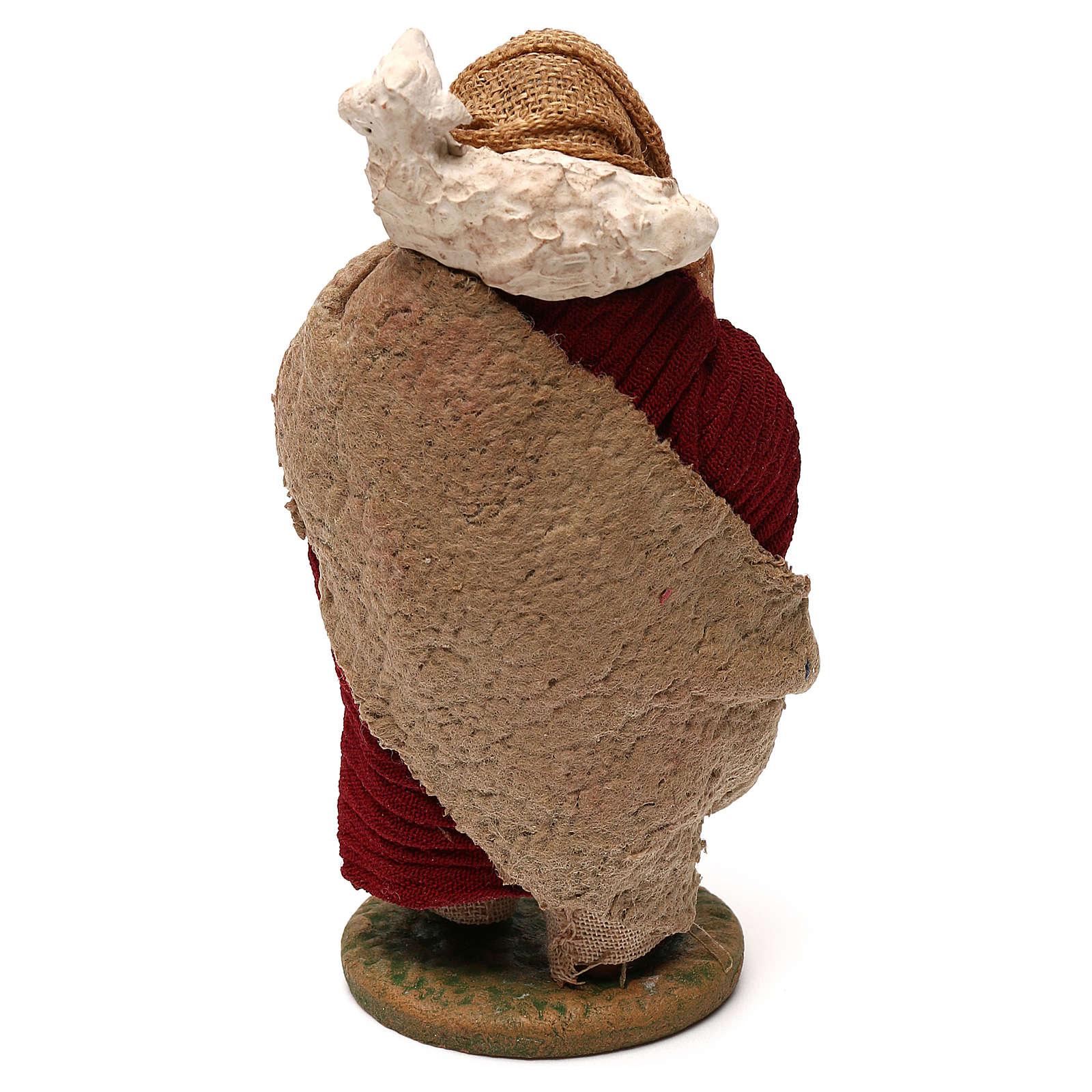 STOCK Pastore con pecora vestito in terracotta 10 cm Presepe Napoli 4