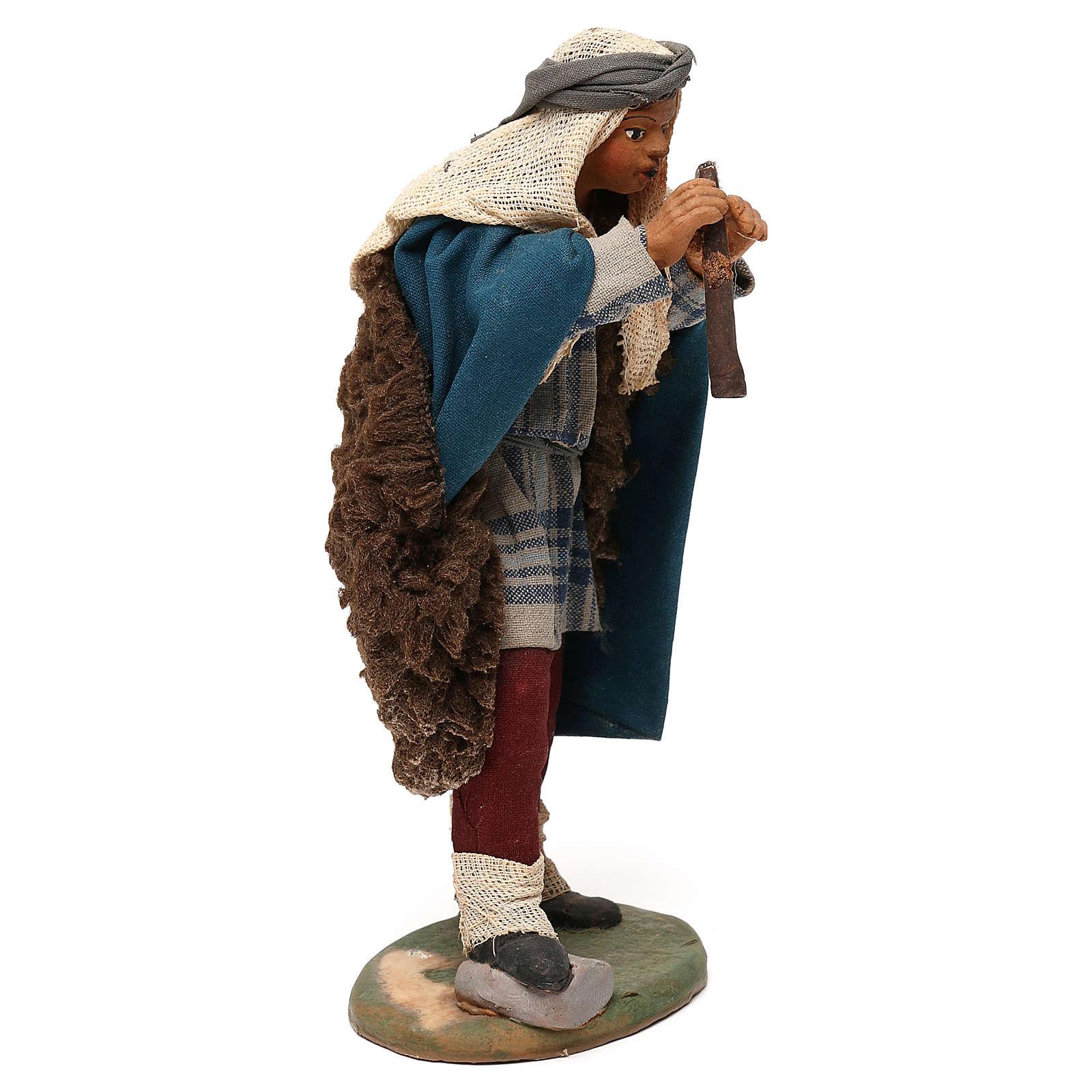 STOCK Flautista vestido terracota de 18 cm belén napolitano 4