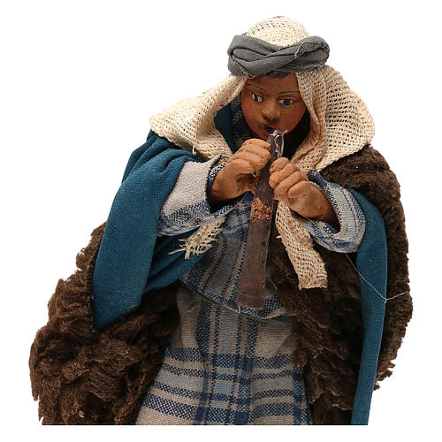 STOCK Flautista vestido terracota de 18 cm belén napolitano 2