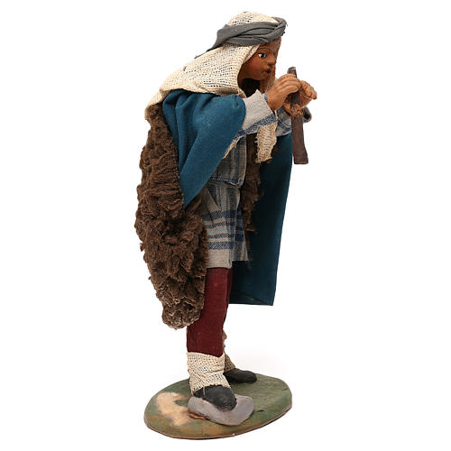 STOCK Pifferaio vestito terracotta di 18 cm presepe napoletano 4