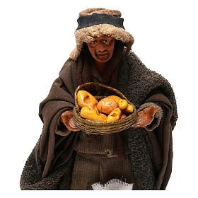 STOCK Pastore con pane vestito terracotta 18 cm presepe napoletano s2