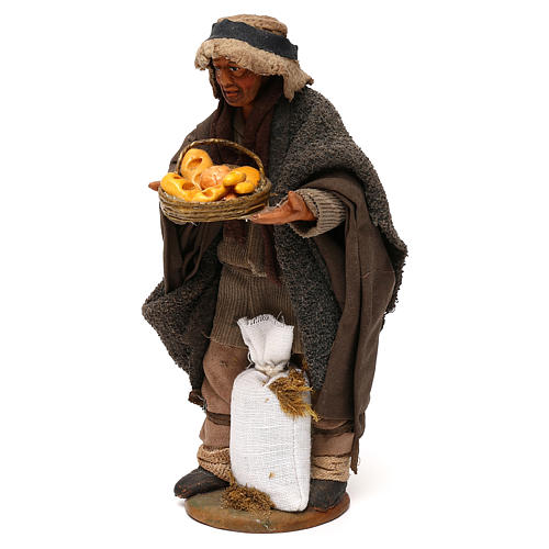 STOCK Pastore con pane vestito terracotta 18 cm presepe napoletano 3